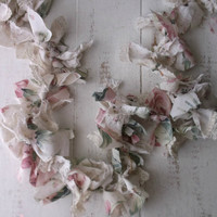 Rag Bow Garland. Pink WHite Shabby Roses.  Rustic Cottage Weddings. Shabby chic Cottage Romance Nursery Decor.Photo Prop. Handmade Keepsake