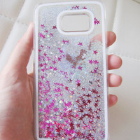 Samsung Galaxy S6 case liquid glitter clear hipster star iridescent geometric sequins floating liquid waterfall quicksand phone US seller
