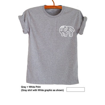Tumblr Pocket T Shirt Elephant Printed Ethnic Boho Hippie Gypsy Grunge Funny Instagram Fashion Gray Top Womens Girls Teens Unisex Cool Gifts