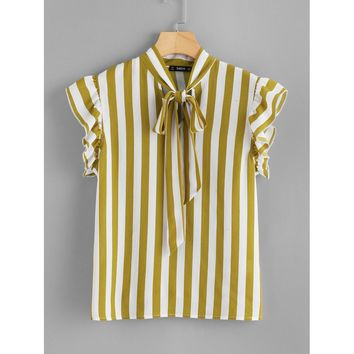 Contrast Vertical Striped Bow Tie Neck Top