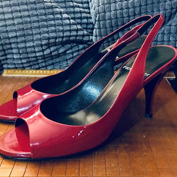 Designer PIERRE HARDY Woman's Kitten Heel Sling Back In Red Size 37 1/2 US 7.5, Antique Alchemy
