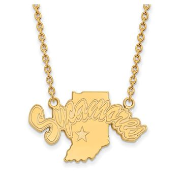 NCAA 14k Yellow Gold Indiana State Large Sycamore Pendant Necklace