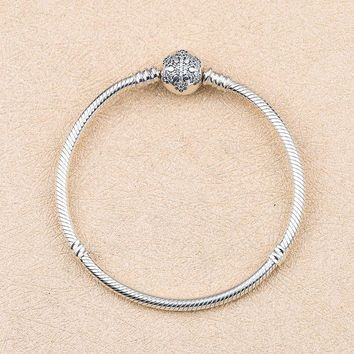 Genuine 925 Sterling Silver Snowflake Charm Pandora Bracelet Bangle  Fit Charm Bead Authentic Fine Women Jewelry