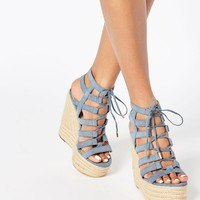 River Island Caged Tie Up Wedge Sandal at asos.com