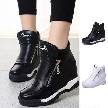 2017 Popular Women Style Fashion Shoes Women Autumn Soft Leather Ankle Boots Increasing Wedges Boots Fashion Casual Shoes Hot Se
