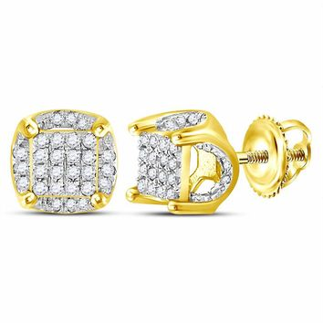10kt Yellow Gold Mens Round Diamond Cluster Stud Earrings 1/5 Cttw