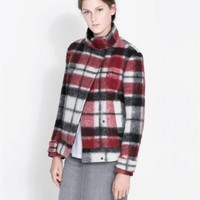 ZARA RED ECRU DOUBLE BREASTED CHECKED WOOL JACKET SIZE LARGE L