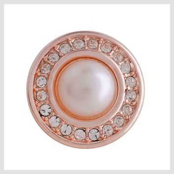 """Rose Gold Pearl Clear Crystals 20mm 3/4"""""""