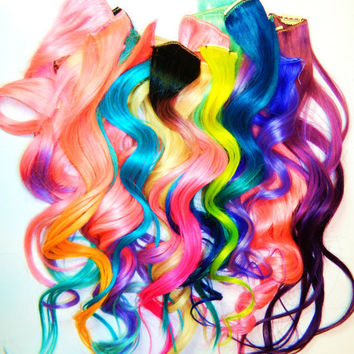 CUSTOM Order YOU CHOOSE 6 pc set Ombre or Solid Clip In Human Hair Extensions Dip Dye Tye Dye