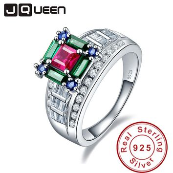 JQueen 5.73ct Ruby Emerald Sapphire 925 Sterling Silver Wedding Rings for Women Luxury Jewelry Female s925 Silver Wholesale