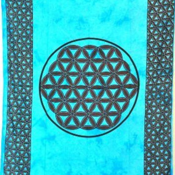 Cotton Celtic Blue Tye Dye Knot Print Tapestry Bedspread Wall