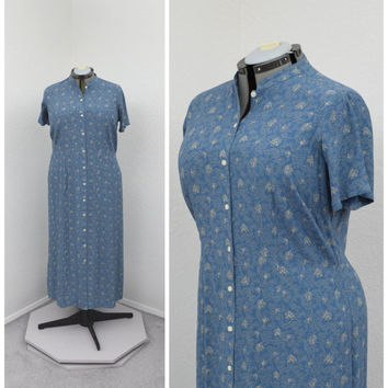 Vintage 90s Grunge Plus Size Gray Blue Floral Maxi Dress, Mandarin Collar, Short Sleeve Casual Dress, Long Summer Dress, Size 1X