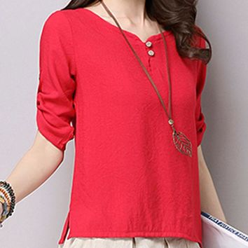 Streetstyle  Casual Plain Roll-Up Sleeve T-Shirt