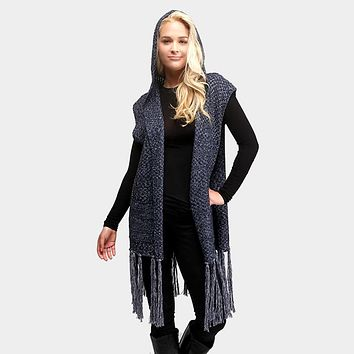 Hooded Pockets Fringe Tassel Vest