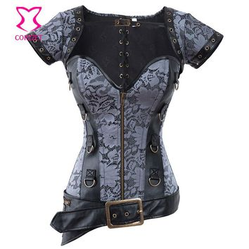 Corzzet Vintage Costume Leather Push Up Overbust Steampunk Corset Zipper Waist slimming Burlesque Corpete E Espartilhos