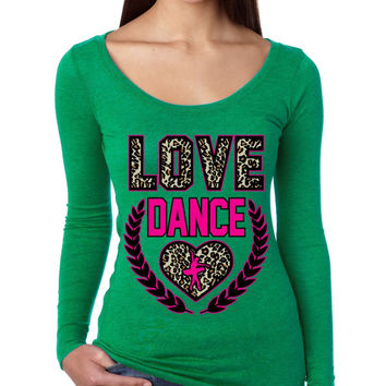 Love Dance Leopard Womens Long Sleeve Shirt
