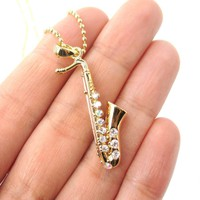 Realistic Miniature Tenor Saxophone Musical Instrument Shaped Pendant Necklace in Gold