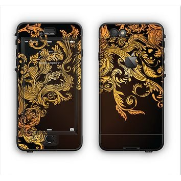 The Gold Floral Vector Pattern on Black Apple iPhone 6 Plus LifeProof Nuud Case Skin Set
