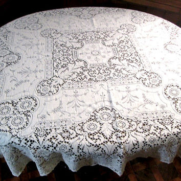"Quaker Lace Tablecloth Vintage White Table Linens 46"" Square Table Cloth Shabby Chic Cottage Decor Antique Lace Style # 5420 Dining Table"
