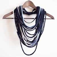 Blue off-white necklace neck ornament loop scarf infinity scarf round scarf long