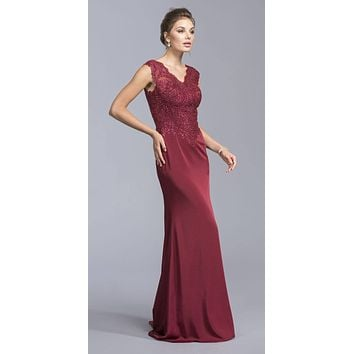 Burgundy Cap Sleeve Floor Length Formal Dress Appliqued Bodice
