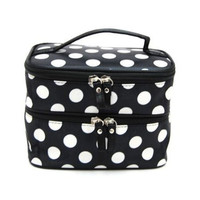 DuaFire Cosmetic Bag Double Layer Dot Pattern Travel Toiletry Bag Organizer With Mirror (Black)