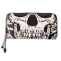 Gothic Death Skull Face Glow in the Dark Zip Around Wallet
