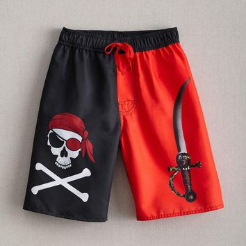 Boys Skull Pirate Board Shorts | Chasing Fireflies