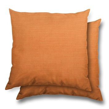 Stratford Home 17x17 Indoor/ Outdoor Toss Pillows, Sunbrella Canvas Fabric, Set of 2 (Tangerine)