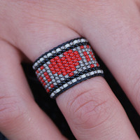 Adjustable Navajo Native Indian Heart Tribal Boho Chic / Hippie Chic Gorgeous Tiniest Micro Seed Bead Ring... your size or Adjustable