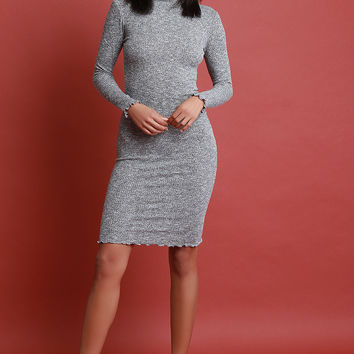 Rib Knit Mock Neck Ruffle Trim Bodycon Dress | UrbanOG