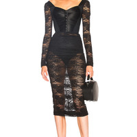Dolce & Gabbana Lace Corset Midi Dress in Black | FWRD