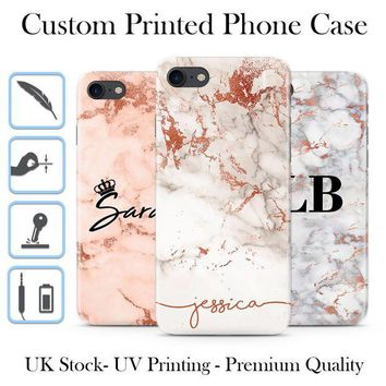 LMFDC0 PERSONALISED ROSE GOLD MARBLE INITIALS NAME CUSTOM HARD PHONE CASE FOR IPHONE