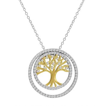 Two Tone 3-in-1 CZ Tree of Life Pendant-Necklace in Sterling Silver on a 18 in. Chain