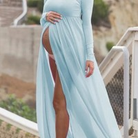 Light Blue Grenadine Off Shoulder Backless Slit Maternity Long Sleeve Babyshower Maxi Dress