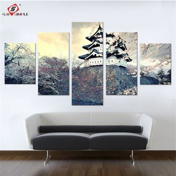 City Sakura Japan Spring Canvas Set Wall Pictures for Bedroom Paintings for Living Room Wall Japan City Wall Art Drop Shipping
