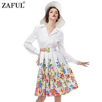 ZAFUL Women plus size clothing Audrey hepburn 50s Vintage elegant long sleeve robe feminino Ball Gown Party Retro Dress Vestidos