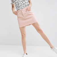 ASOS Denim Low Rise Skirt in Washed Pink at asos.com