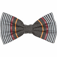 Grey coloured stripe bow tie