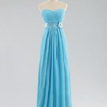 A-line Sweetheart Neck Strapless Sleeveless Flowers Ruched Embellished Floor-length Blue Chiffon Long Bridesmaid Dresses,Wedding Party Dresses