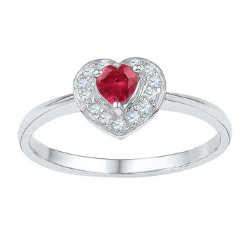 10kt White Gold Womens Round Lab-Created Ruby Heart Diamond-accent Ring 5/8 Cttw