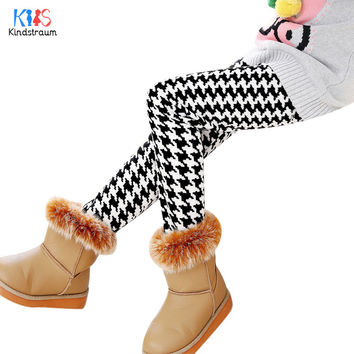Kindstraum 2017 Children Thick Cotton Leggings Brand Kids Print Dot Bow Fashion Wear Winter Thermal Soft Pants for Girls,RC831