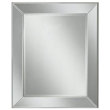 Polystyrene Framed Wall Mirror With a Beveled Glass, Silver
