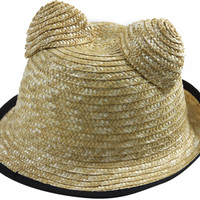 Natural Straw Boater Hat with Cat Ears