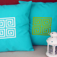 Greek key in and out fabric, embroidery pillow cover, turquoise fabric and Lime embroidery cushion cover.