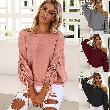 Women Stripe Solid Color Drawstring Long Sleeve Loose Casual Tops