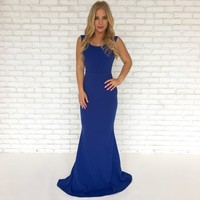 Perfect Duet Bow Back Maxi Dress In Royal Blue