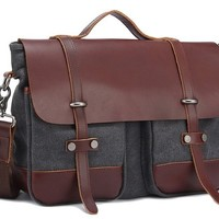 MEKU Men's Casual Messenger Bag Canvas Leather Satchel Bag Christmas Gift for Him