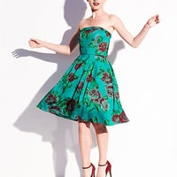 BetseyJohnson.com - FLORAL STRAPLESS PARTY DRESS GREEN