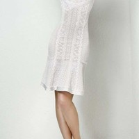 White Textured Halter Bandage Dress